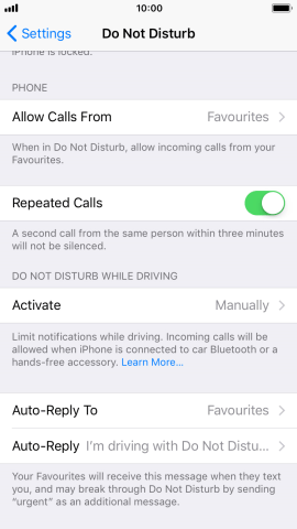 Press Auto-Reply to edit the automatic message that Do Not Disturb While Driving is turned on.