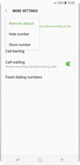 Press Hide number to turn off caller identification.