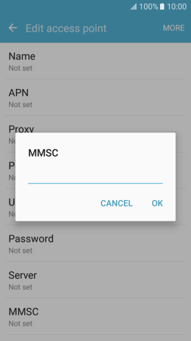 Key in http://mmsc.mdata.net.au:8003 and press OK.
