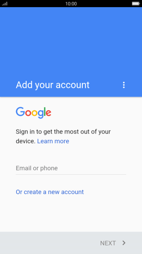 If you don't have a Google account, press Or create a new account and follow the instructions on the screen to create an account.