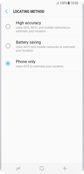 If you select Phone only, your phone can find your exact position but it may take longer as there is no access to supplementary information from the mobile network or nearby Wi-Fi networks.